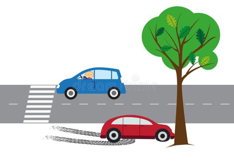 De elementen van het autoongeval - vectorillustratie royalty-vrije illustratie