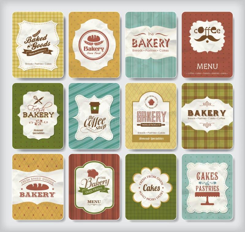 De elementen van het bakkerijontwerp royalty-vrije illustratie