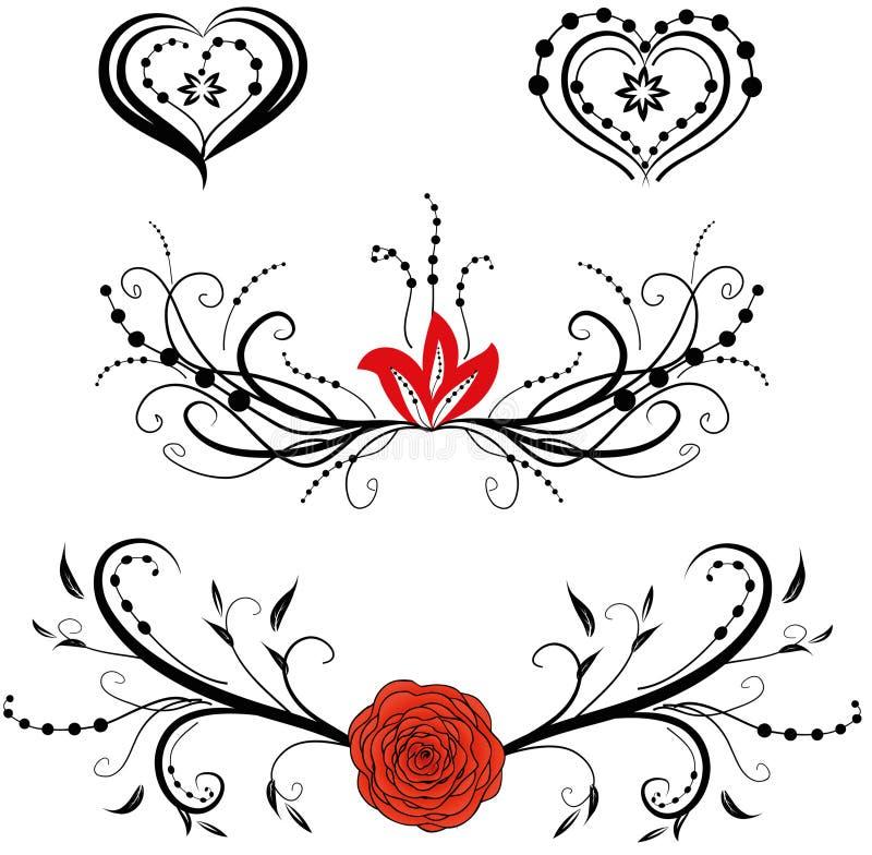 De elementen van het bloemen en hartenontwerp stock afbeeldingen