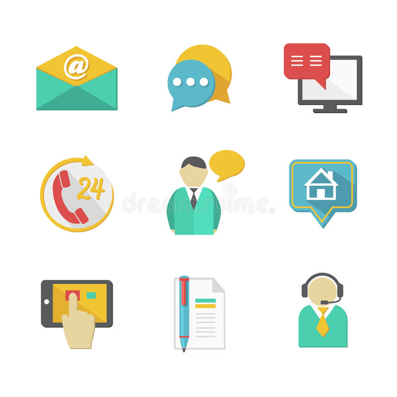 De Elementen van het de Contactenontwerp van de klantenhelpdesk stock illustratie