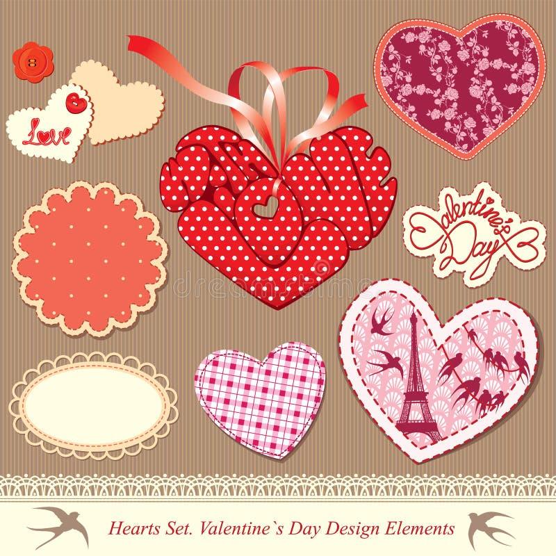 De elementen van het de dagontwerp van valentijnskaarten