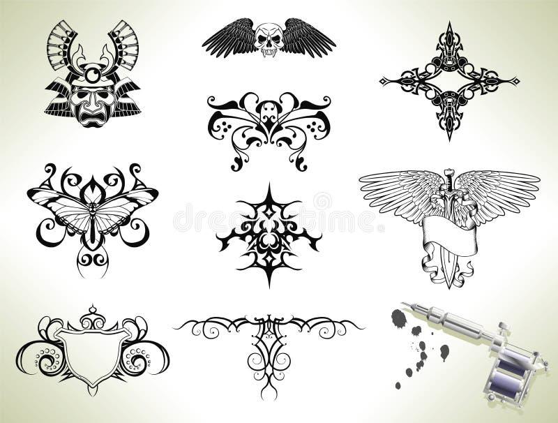 De elementen van het de flitsontwerp van de tatoegering vector illustratie