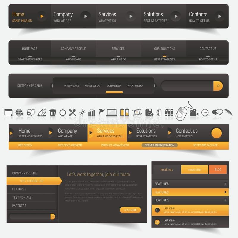 De elementen van het de navigatiemalplaatje van het websiteontwerp met geplaatste pictogrammen royalty-vrije illustratie