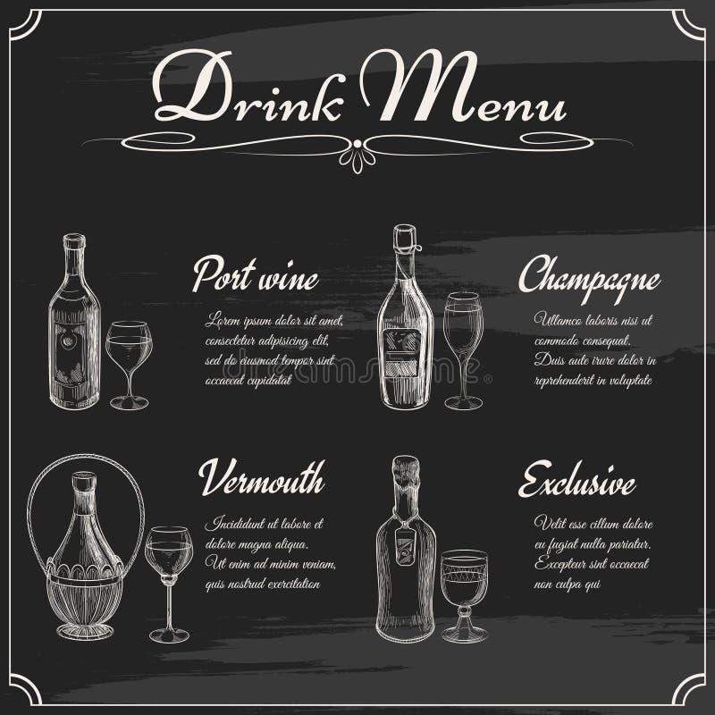 De elementen van het drankmenu op bord vector illustratie