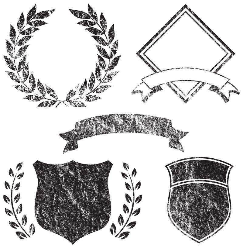 De Elementen van het Embleem van Grunge stock illustratie