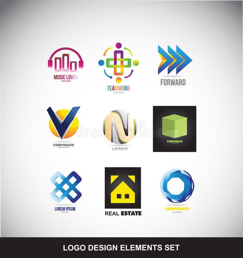 De elementen van het embleemontwerp geplaatst pictogram vector illustratie