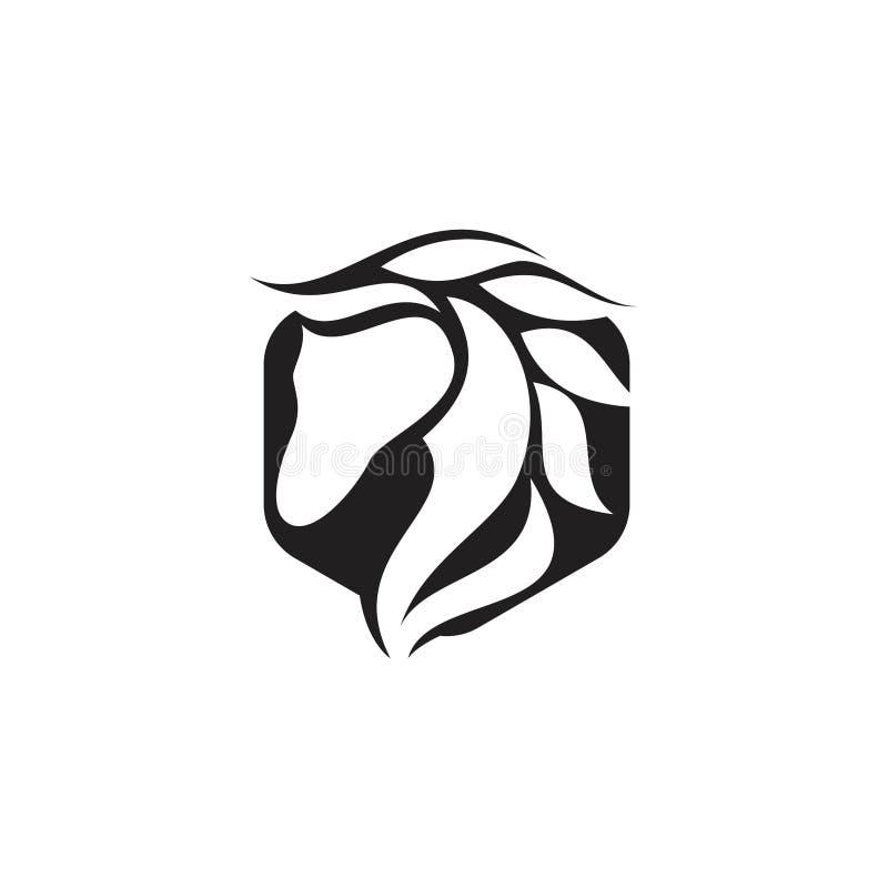 De elementen van het embleemontwerp - vector het pictogramsymbool van het paard vector, Eenvoudig paard binnen poligon in vlakke  stock illustratie