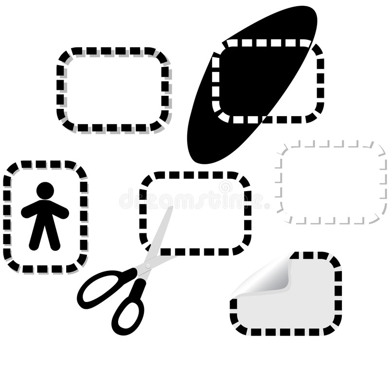 De elementen van het gestippelde lijnontwerp stock illustratie