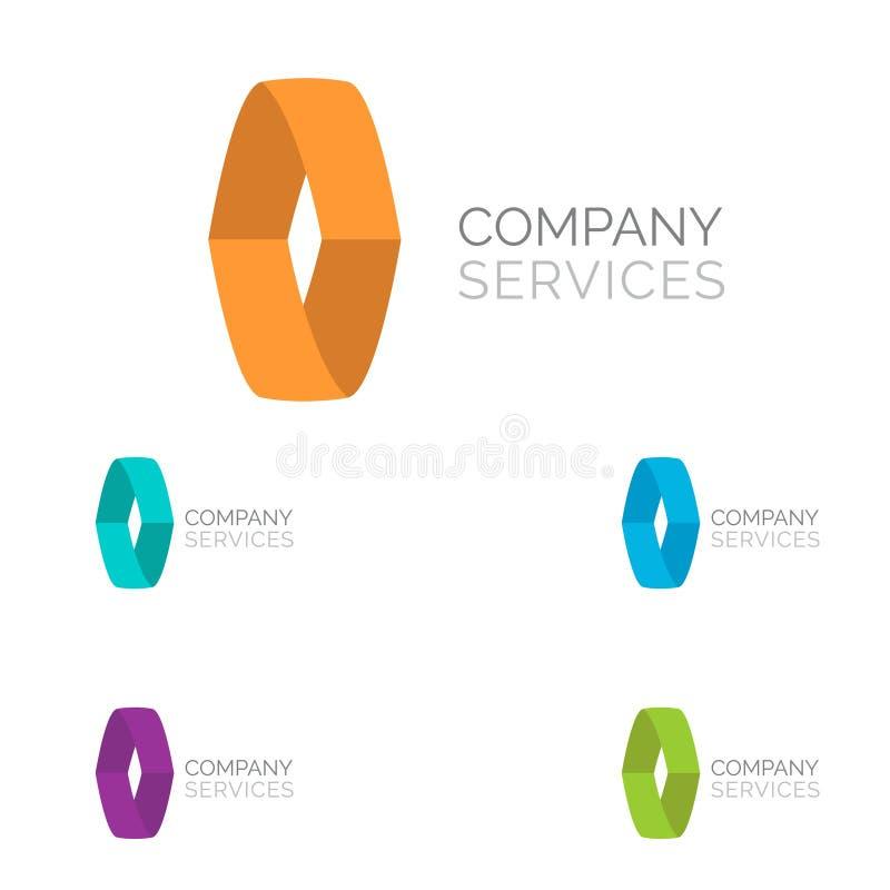 De elementen van het het ontwerpmalplaatje van het brieveno embleem in verschillende kleuren vector illustratie