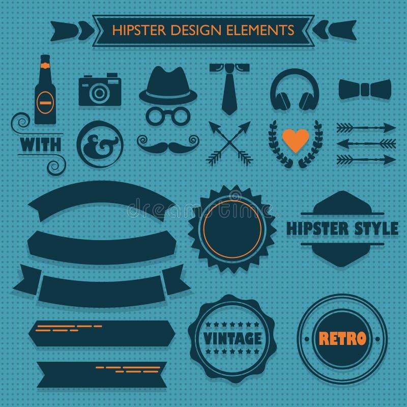 De elementen van het Hipsterontwerp op blauwe gestippelde achtergrond worden geplaatst die stock illustratie
