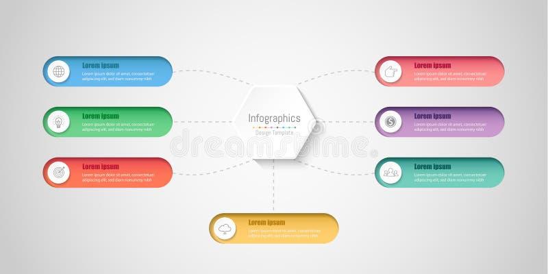 De elementen van het Infographicontwerp voor uw bedrijfsgegevens met 7 opties stock illustratie