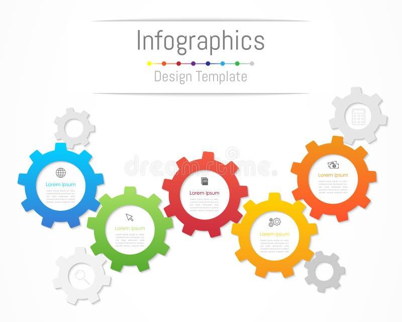 De elementen van het Infographicontwerp voor uw bedrijfsgegevens met 5 opties, delen, stappen, chronologie of processen Het conce royalty-vrije illustratie