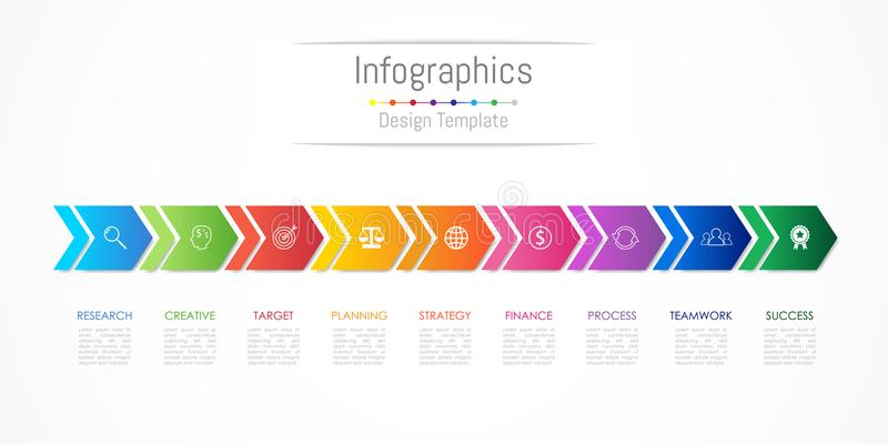 De elementen van het Infographicontwerp voor uw bedrijfsgegevens met 9 opties, delen, stappen, chronologie of processen, Pijl ver royalty-vrije illustratie