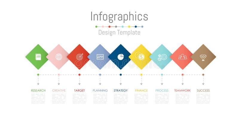 De elementen van het Infographicontwerp voor uw bedrijfsgegevens met 9 opties, delen, stappen, chronologie of processen Vector vector illustratie