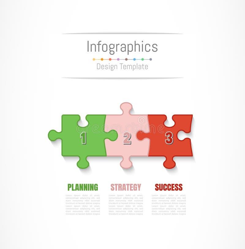 De elementen van het Infographicontwerp voor uw bedrijfsgegevens met 3 opties, delen, stappen, chronologie of processen Vector royalty-vrije illustratie