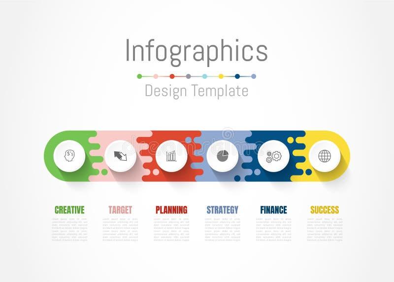 De elementen van het Infographicontwerp voor uw bedrijfsgegevens met 6 opties, delen, stappen, chronologie of processen Vector stock illustratie