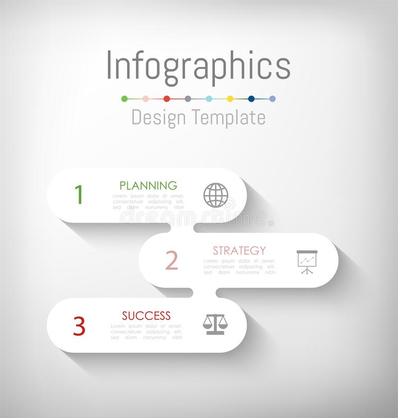 De elementen van het Infographicontwerp voor uw bedrijfsgegevens met 3 opties, delen, stappen, chronologie of processen Vector vector illustratie
