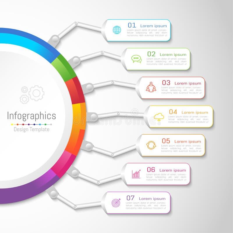 De elementen van het Infographicontwerp voor uw zaken met 7 opties royalty-vrije illustratie
