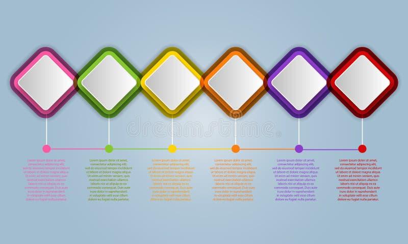 De elementen van het Infographicontwerp voor uw zaken met 6 opties, pa vector illustratie