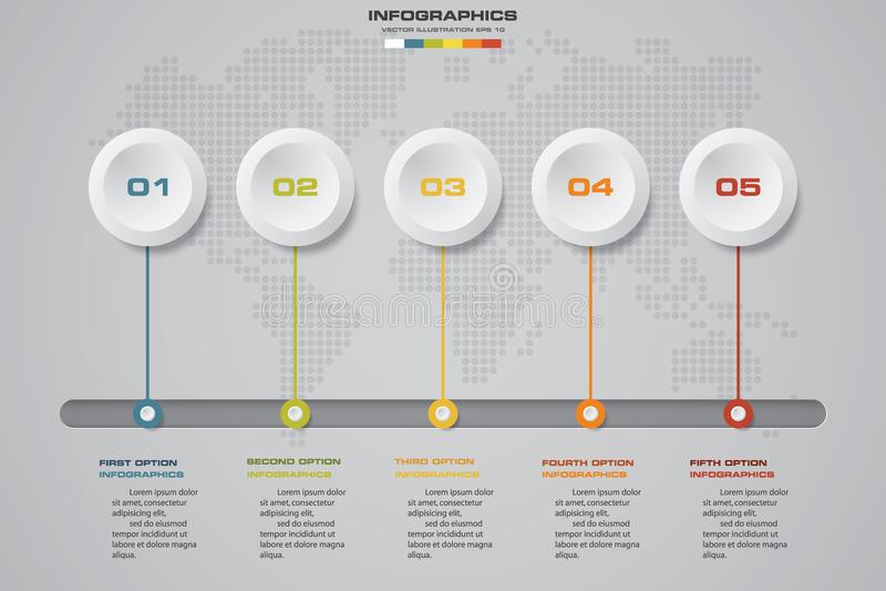 De elementen van het Infographicontwerp voor uw zaken met 5 opties de presentatie van de 5 stappenchronologie vector illustratie