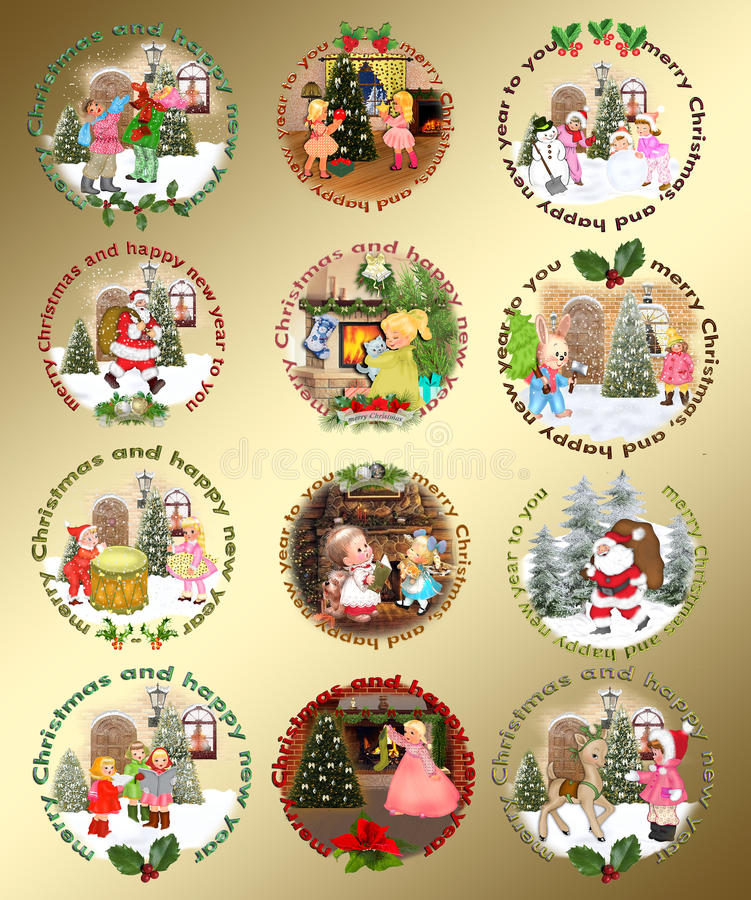 De elementen van het Kerstmisontwerp stock illustratie