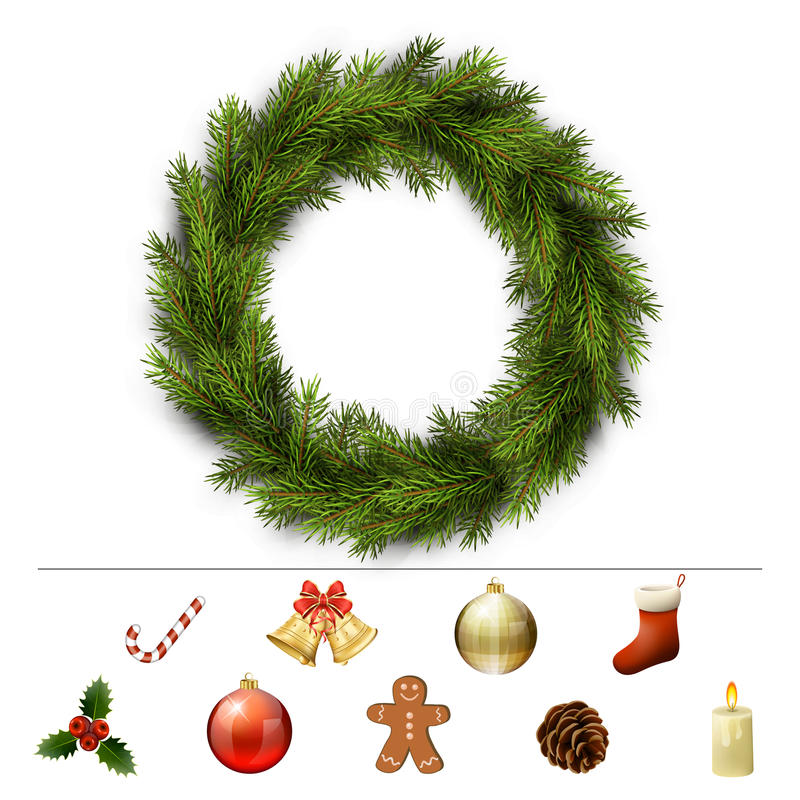 De elementen van het Kerstmisontwerp vector illustratie