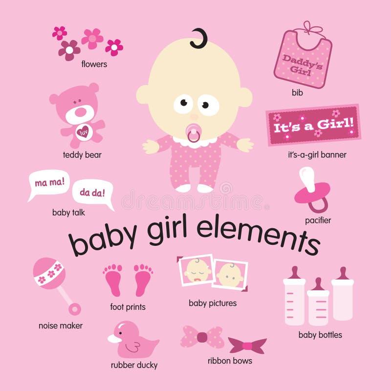De Elementen van het Meisje van de baby stock illustratie