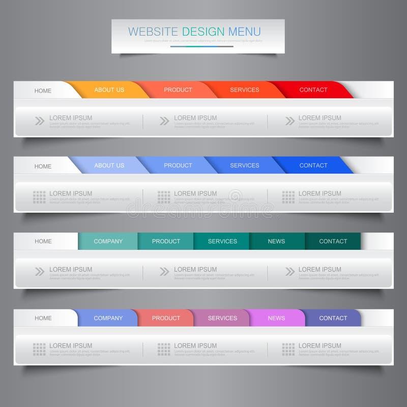 De elementen van de het menunavigatie van het websiteontwerp met pictogrammen plaatsen: Navigatiemenubalken, de vectorillustratie stock illustratie