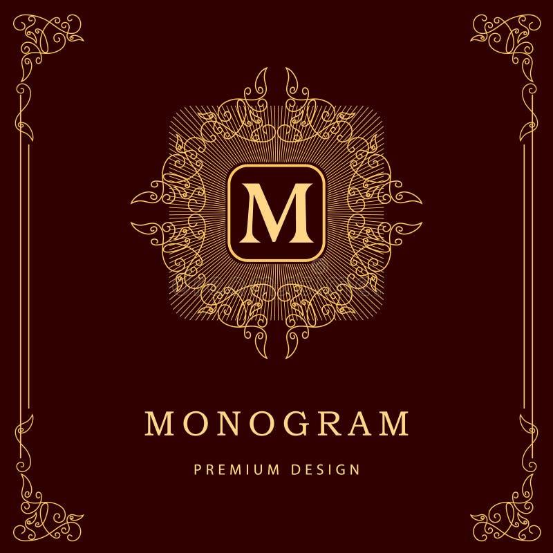 De elementen van het monogramontwerp, bevallig malplaatje Elegant het embleemontwerp van de lijnkunst Bedrijfsteken, identiteit v royalty-vrije illustratie