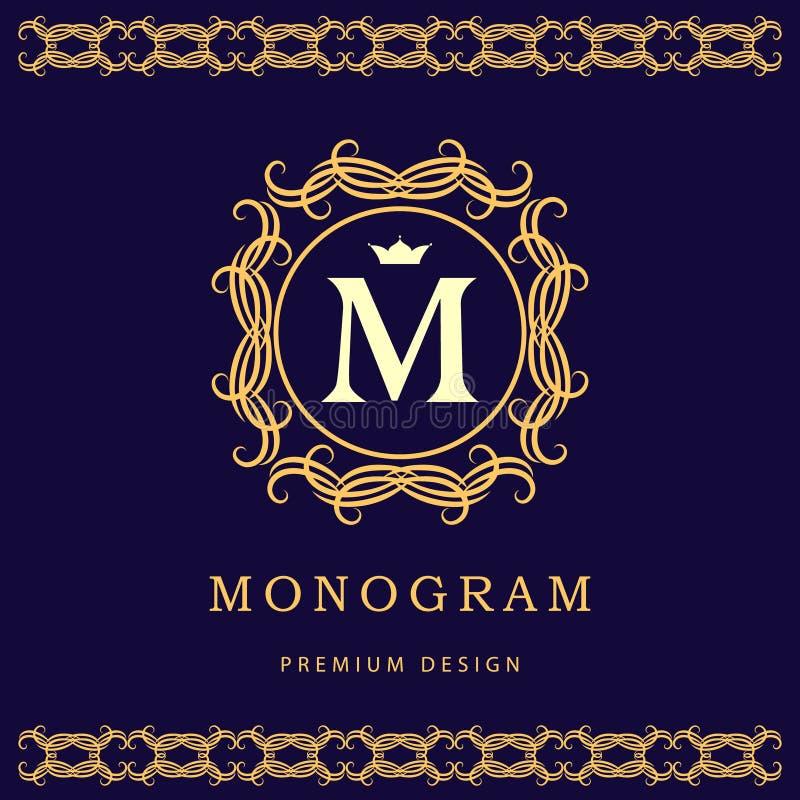De elementen van het monogramontwerp, bevallig malplaatje Elegant het embleemontwerp van de lijnkunst Brief M Bedrijfsteken, iden vector illustratie