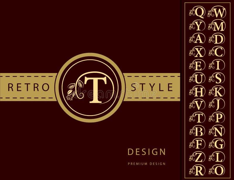 De elementen van het monogramontwerp, bevallig malplaatje Elegant het embleemontwerp van de lijnkunst Brievenembleem T Retro Uits royalty-vrije illustratie