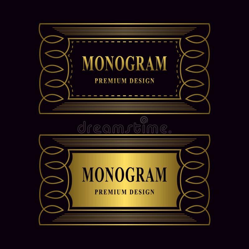 De elementen van het monogramontwerp, bevallig malplaatje Het gouden frame van de luxe Kalligrafisch elegant het embleemontwerp v stock illustratie