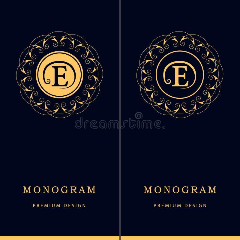 De elementen van het monogramontwerp, bevallig malplaatje Het teken E van het brievenembleem Kalligrafisch elegant het embleemont stock illustratie