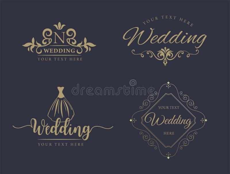 De elementen van het monogramontwerp, bevallig malplaatje Kalligrafisch elegant het embleemontwerp van de lijnkunst reeks Bedrijf royalty-vrije illustratie