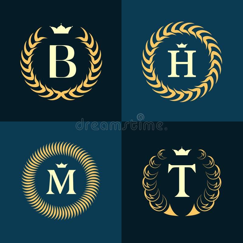 De elementen van het monogramontwerp, bevallig malplaatje Kalligrafisch elegant het embleemontwerp van de lijnkunst Brievenemblee royalty-vrije illustratie