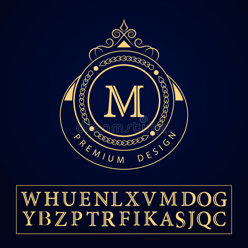 De elementen van het monogramontwerp, bevallig malplaatje Kalligrafisch elegant het embleemontwerp van de lijnkunst Het teken M v vector illustratie