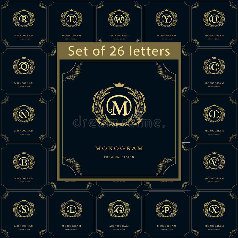 De elementen van het monogramontwerp, bevallig malplaatje Reeks van Brievenembleem Kalligrafisch elegant het embleemontwerp van d royalty-vrije illustratie