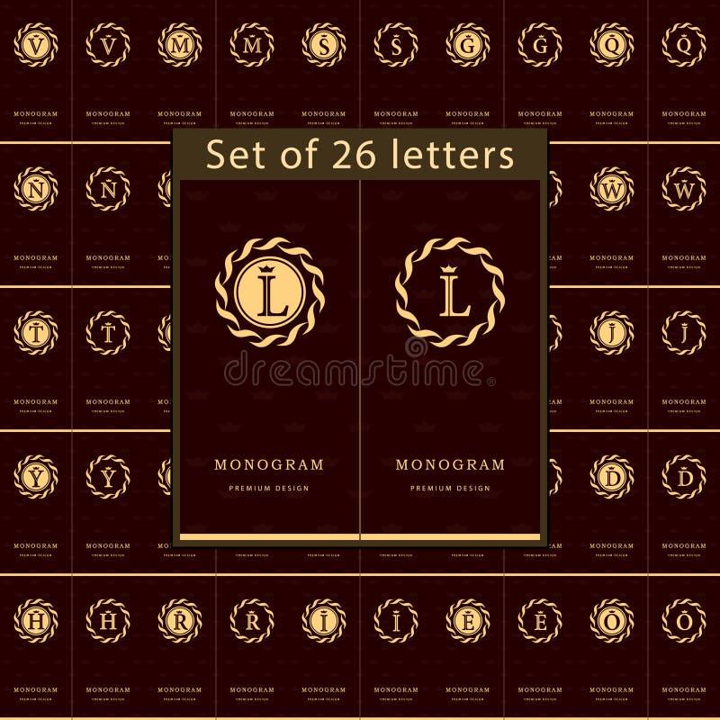 De elementen van het monogramontwerp, bevallig malplaatje Reeks van Brievenembleem Kalligrafisch elegant het embleemontwerp van d vector illustratie