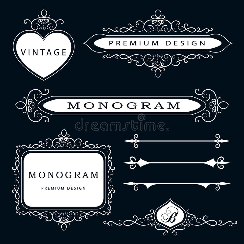 De elementen van het monogramontwerp en paginadecoratie - vectorreeks, bevallig malplaatje Kalligrafisch elegant het embleemontwe stock illustratie
