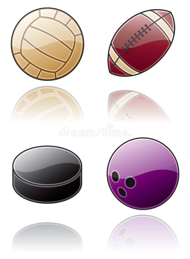 De Elementen van het ontwerp 50b. De Reeks van het Pictogram van de Ballen van de sport stock illustratie