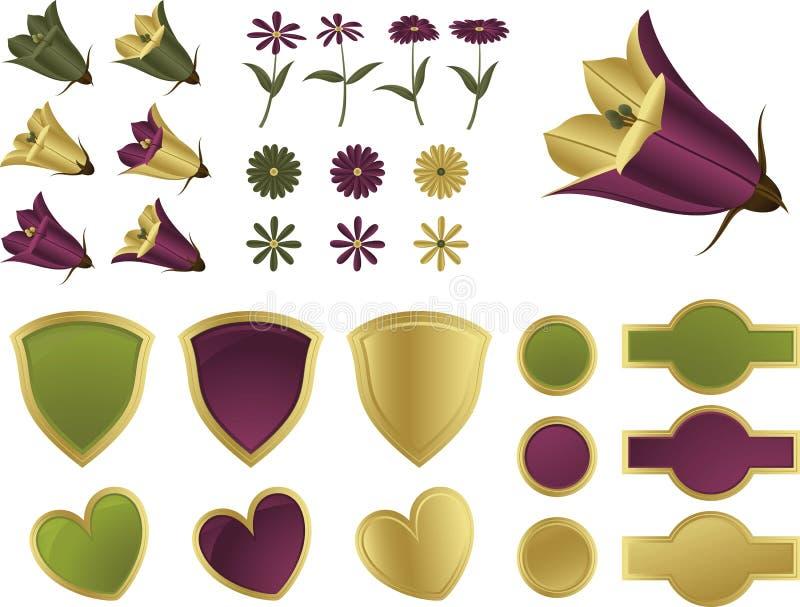 De elementen van het ontwerp - Bloemen en schilden stock foto