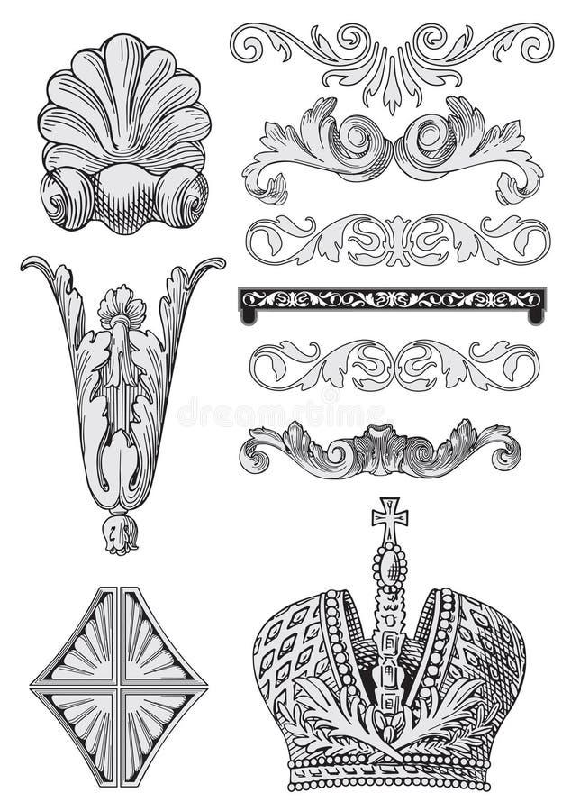 De elementen van het ontwerp met kroonvector vector illustratie