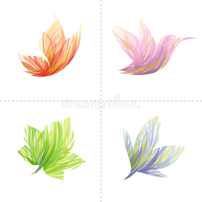 De elementen van het ontwerp: vlinder, kolibrie, blad, flo stock illustratie