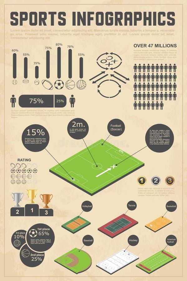 De elementen van het ontwerp voor sporteninfographics vector illustratie