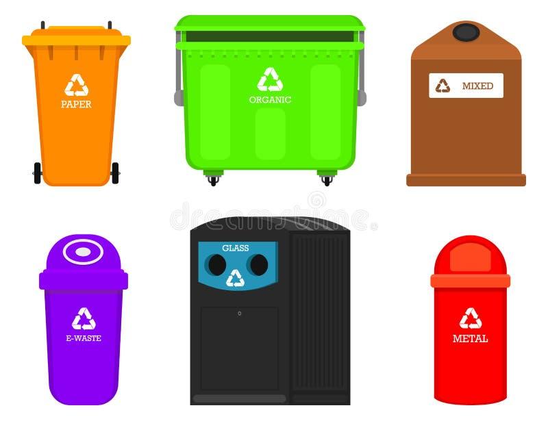 De elementen van het recyclingshuisvuil Zak of containers of blikken voor verschillende trashes Sorterend en gebruik voedselafval stock illustratie