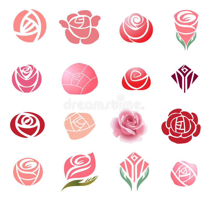 De elementen van het rozenontwerp royalty-vrije illustratie