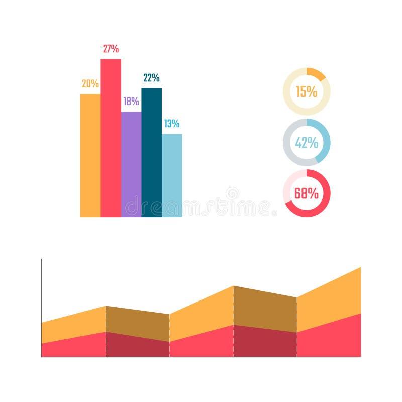 De elementen van Infographic Bisnessgrafiek en diagram Percentenlijst Marketing plan in vlakke stijl stock illustratie