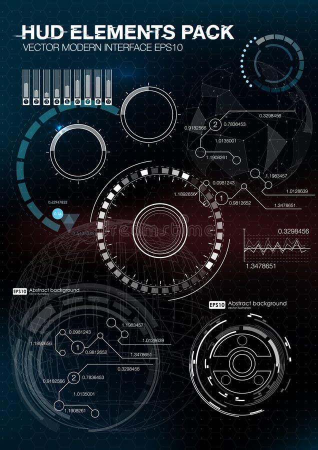 De elementen van Infographic futuristisch gebruikersinterface HUD UI UX Abstracte achtergrond met het verbinden van punten en lij royalty-vrije illustratie