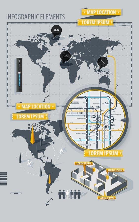 De Elementen van Infographic met wereldkaart en een kaart stock illustratie