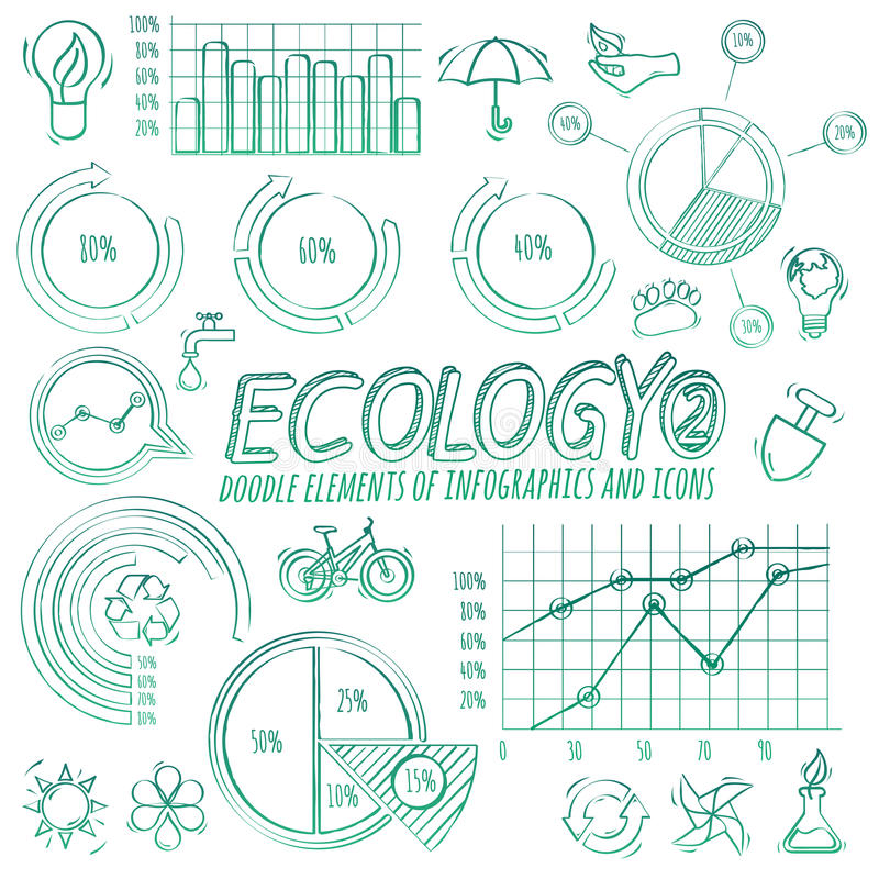 De Elementen van Infographic van de ecologiekrabbel royalty-vrije illustratie